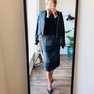 Vintage // wool blend plaid midi skirt